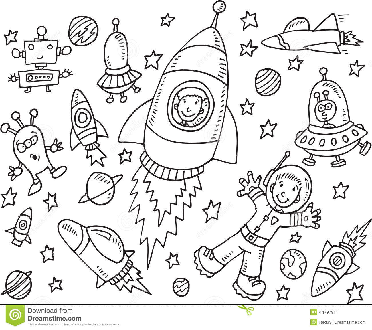 Outer Space Doodle Set Stock Vector Illustration Of Moon
