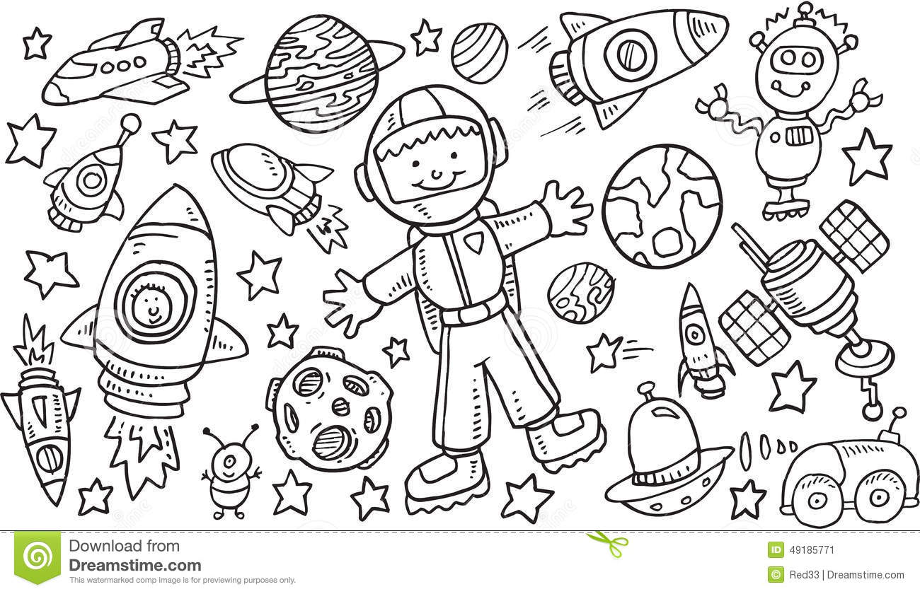 Outer Space Doodle Vectorset Stock Vector