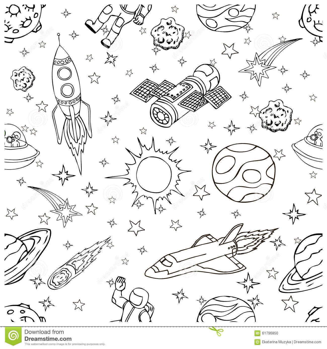 Outer Space Doodles Symbols And Design Elements Stock