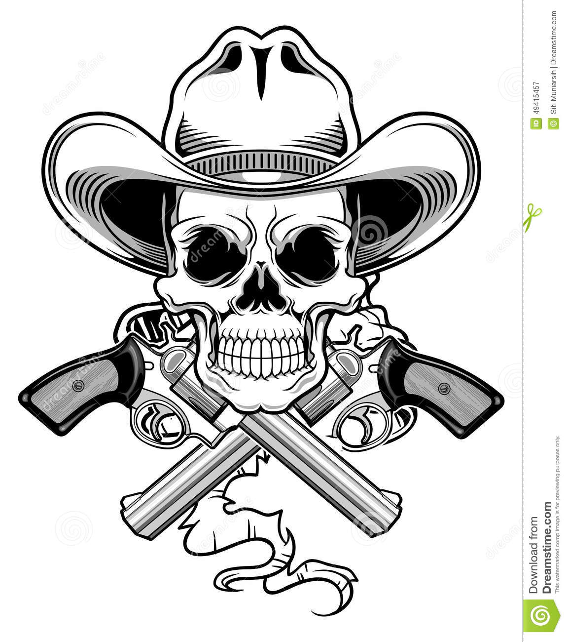 Outlaw Skull Stock Illustration Illustration Of Pistol