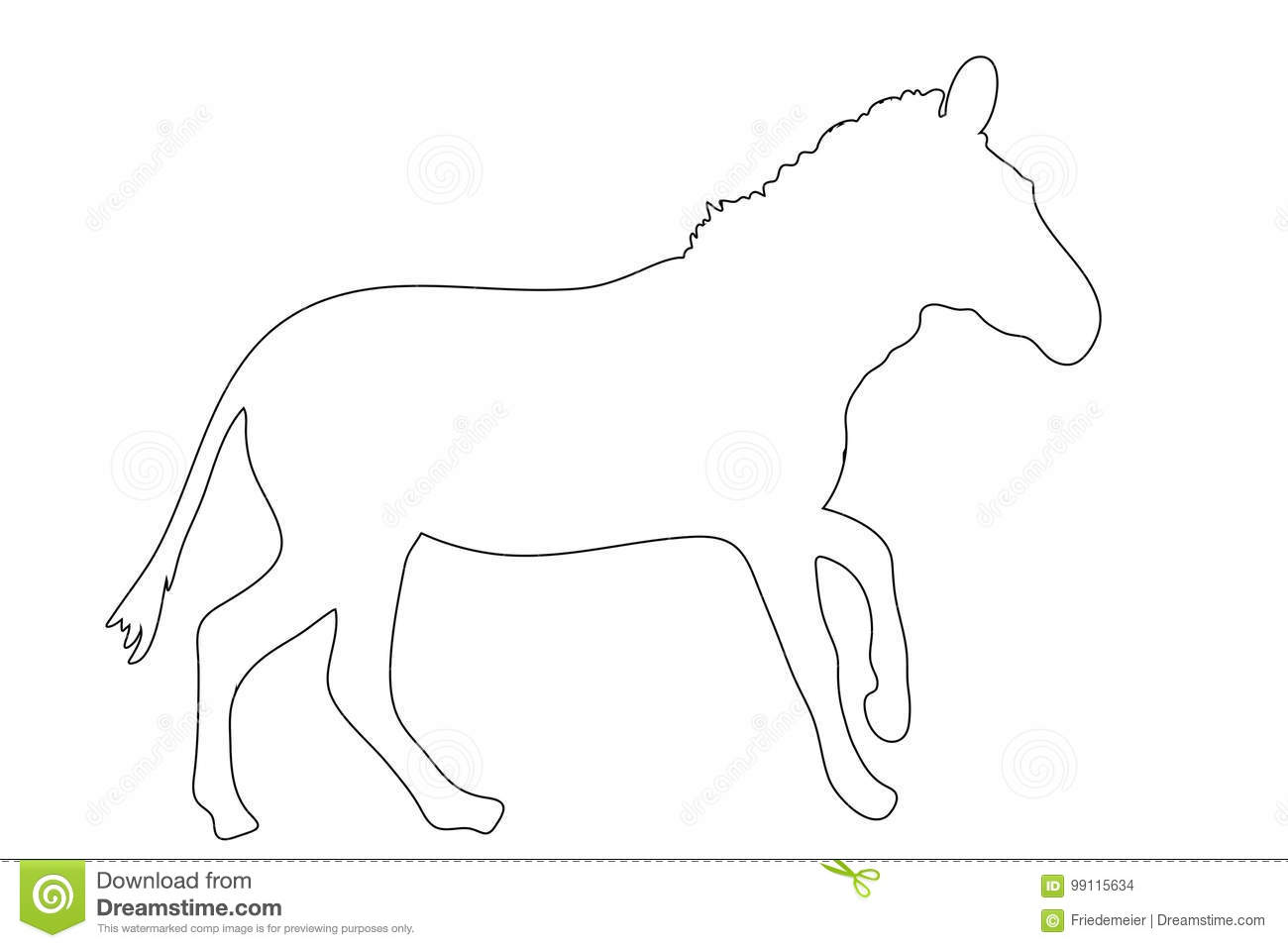 Outline Of An African Zebra Stock Vector