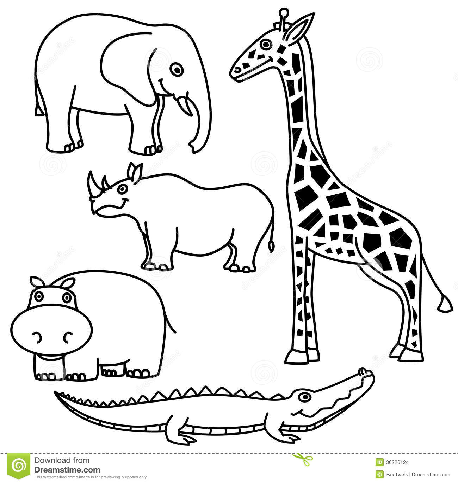 Jungle Animal Clip Art Black And White