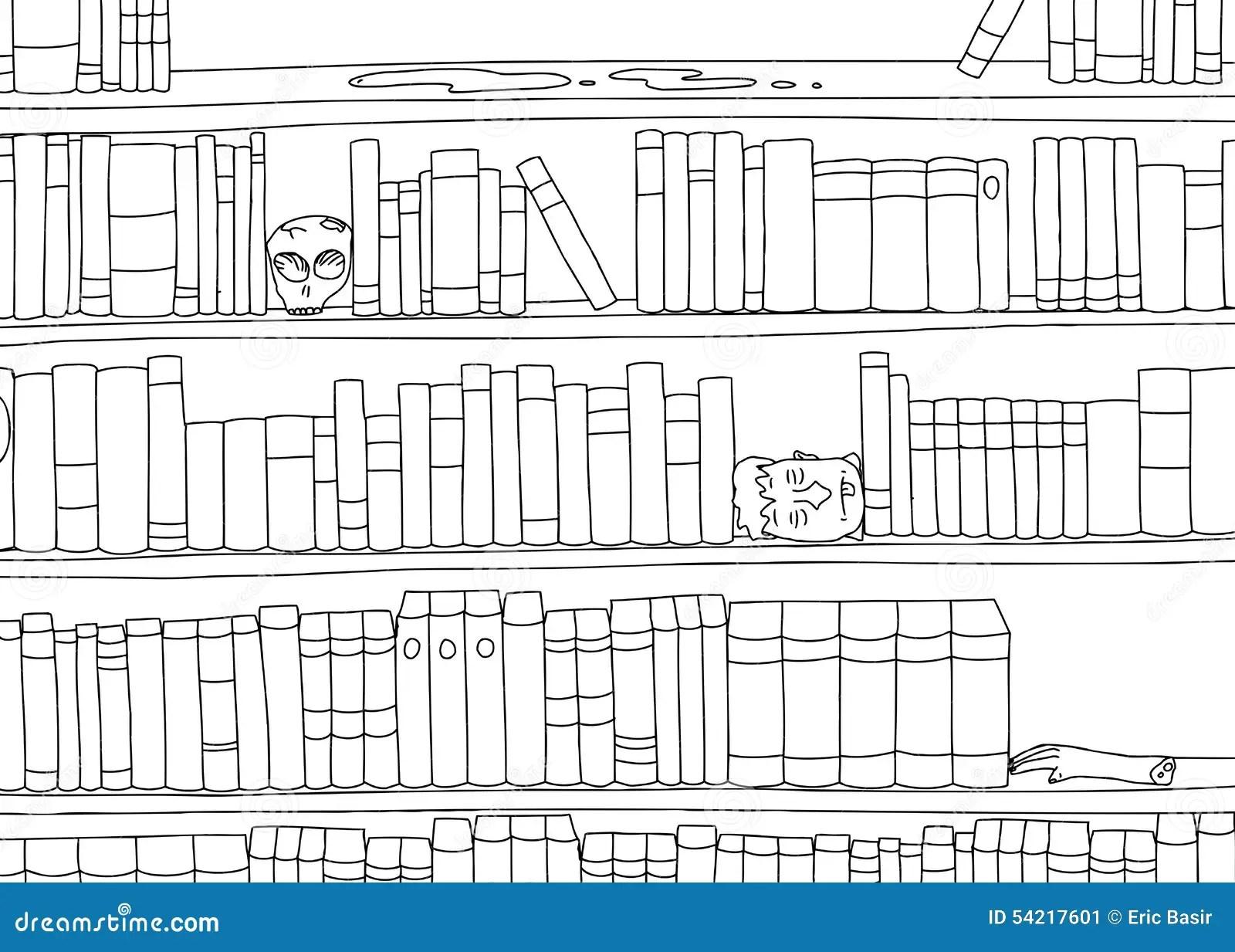 Outline Of Bizarre Bookshelf Stock Illustration
