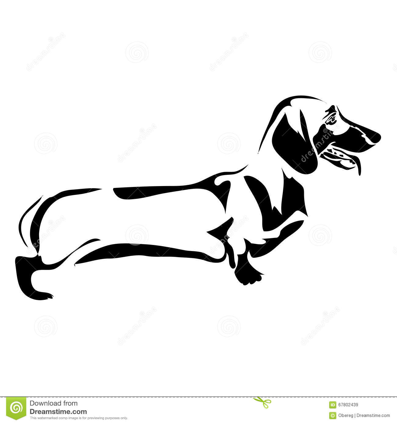 Outline Dog Dachshund Stock Vector Illustration Of