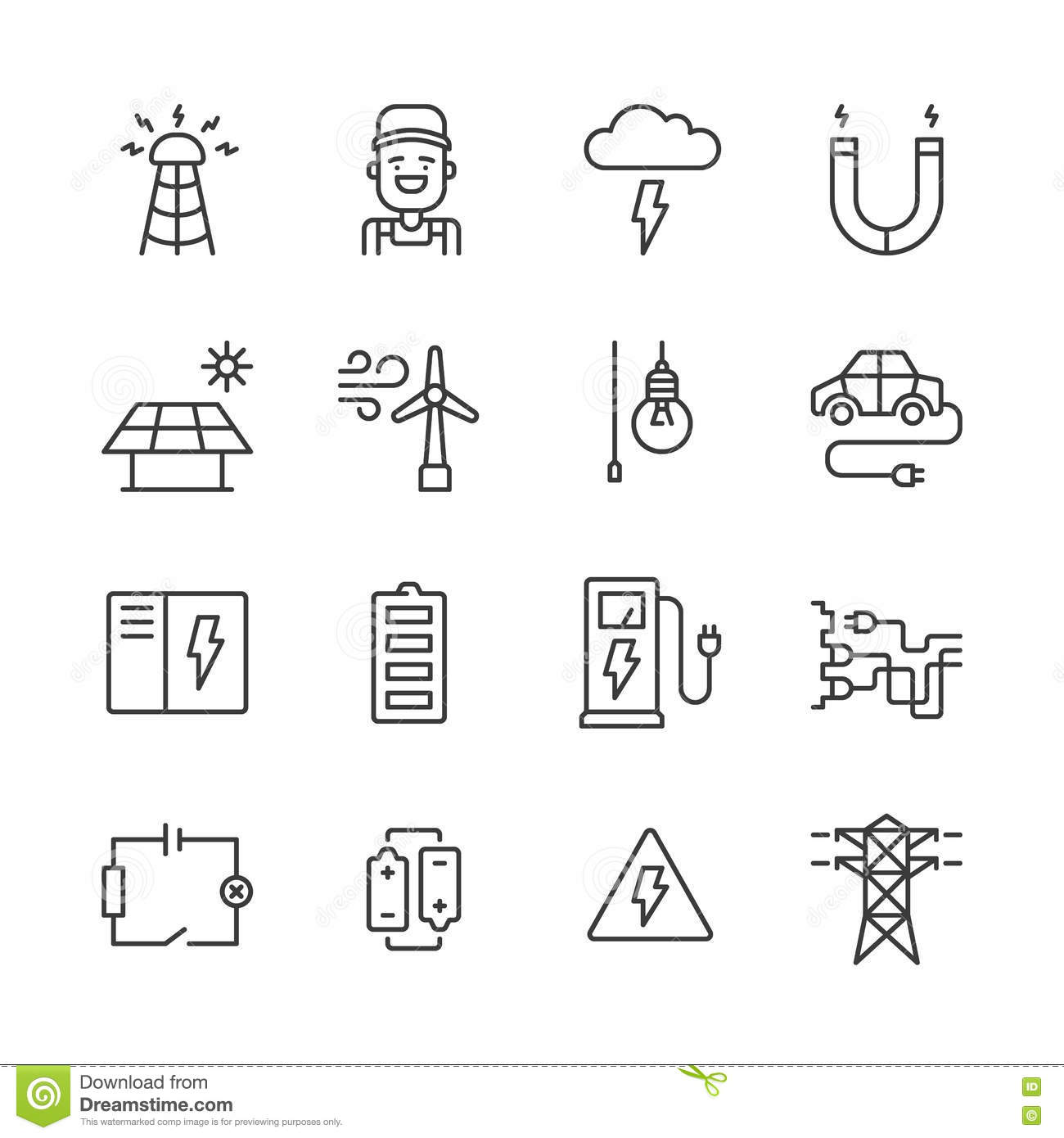 Outline Electricity Icons Stock Vector Illustration Of