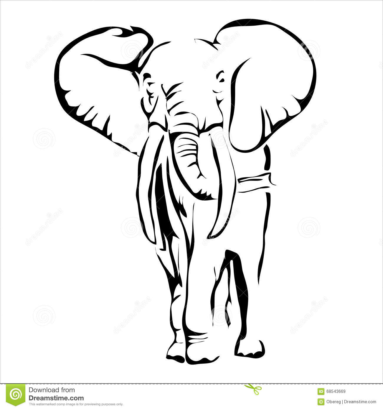 Outline Elephant Vector Image Stock Vector