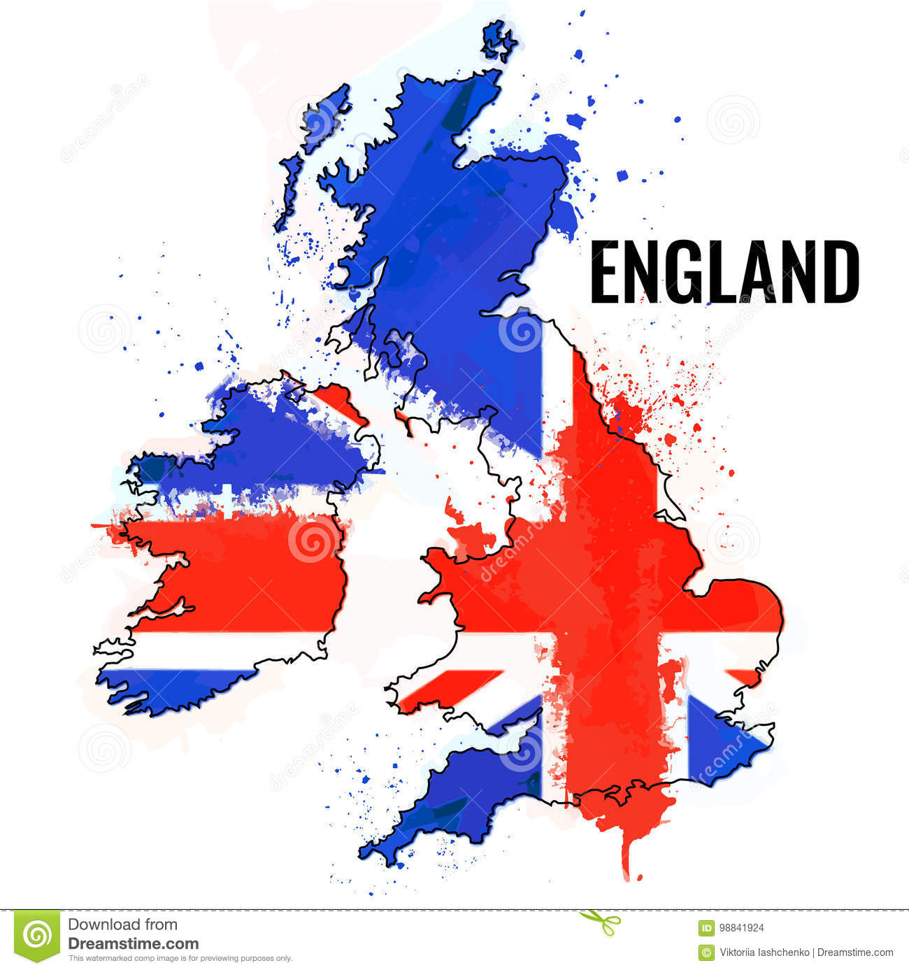 The Outline Of The England With A Watercolor Flag Inside