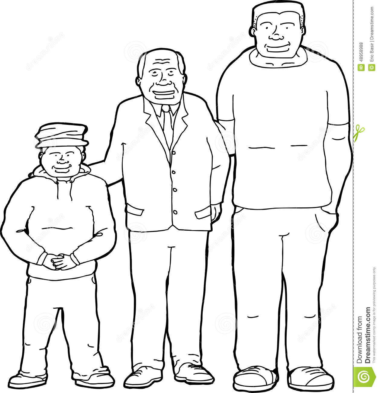 Outline Of Father With Offspring Stock Illustration