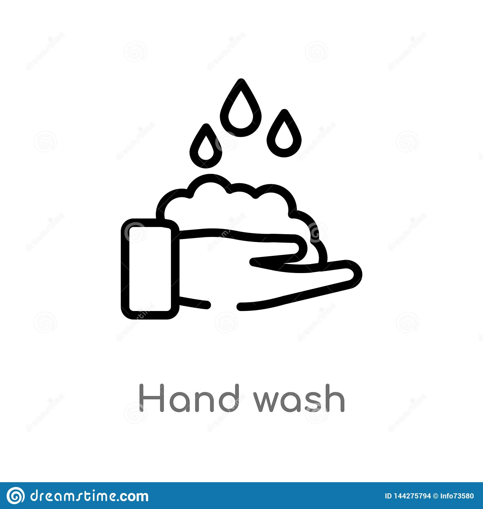 Outline Hand Wash Vector Icon Isolated Black Simple Line