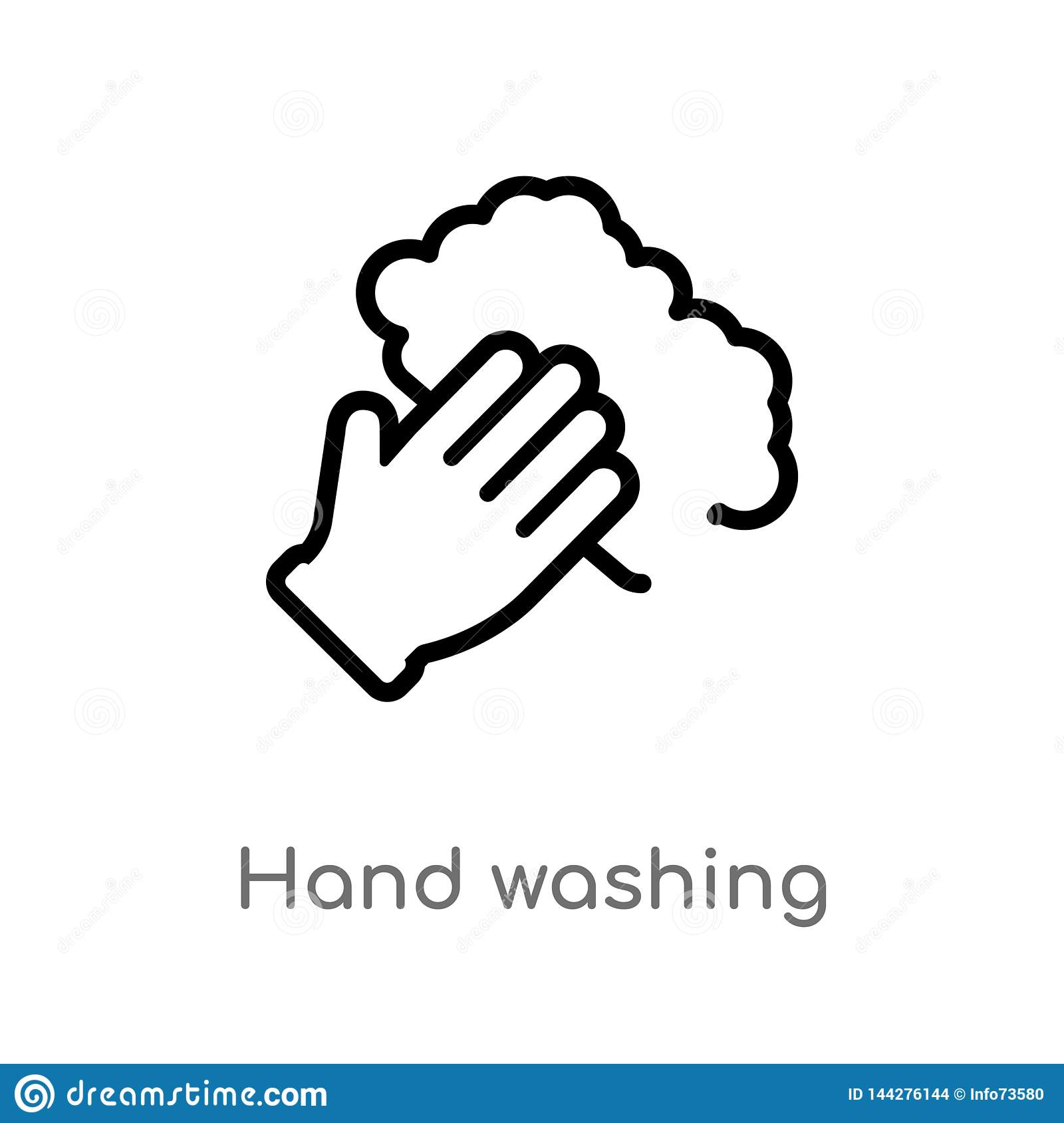 Outline Hand Washing Vector Icon Isolated Black Simple