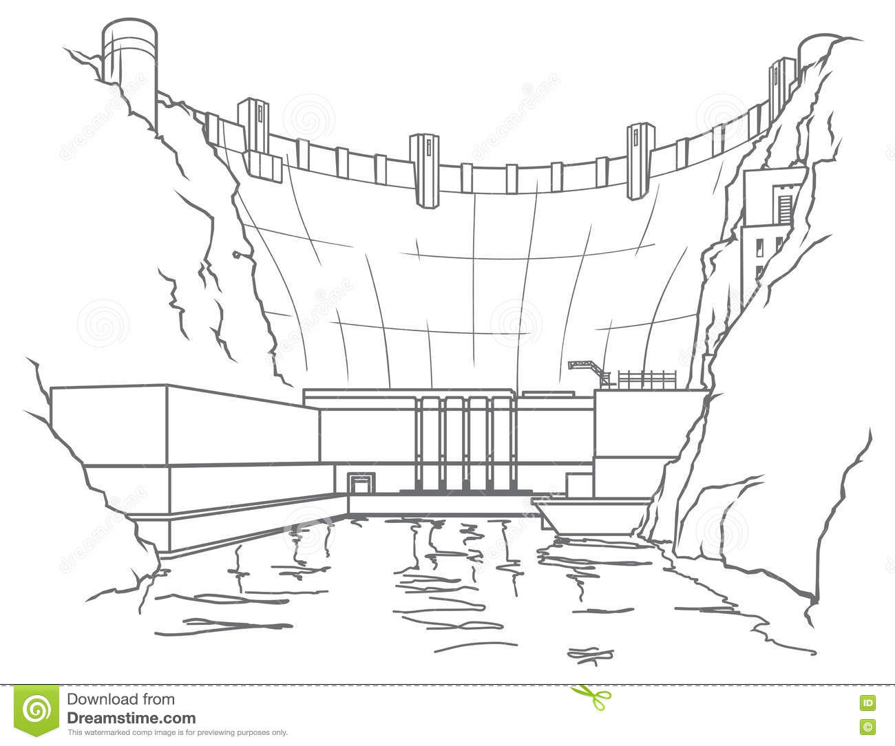 Outline Hydroelectric Dam Stock Vector Illustration Of