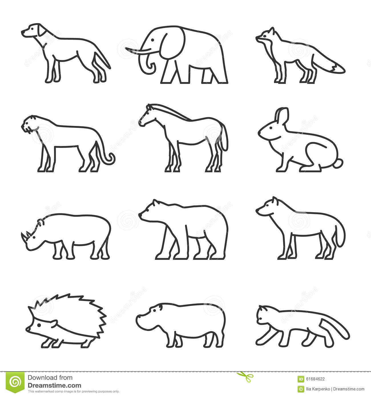 Outline Icon Animals Set Domestic And Wild Stock