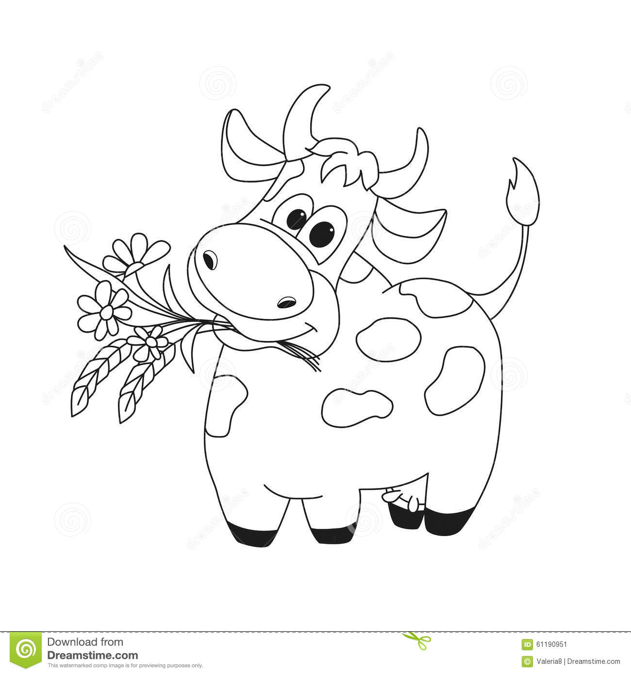 Outline Illustration Of Cute Cow With Flowers Stock