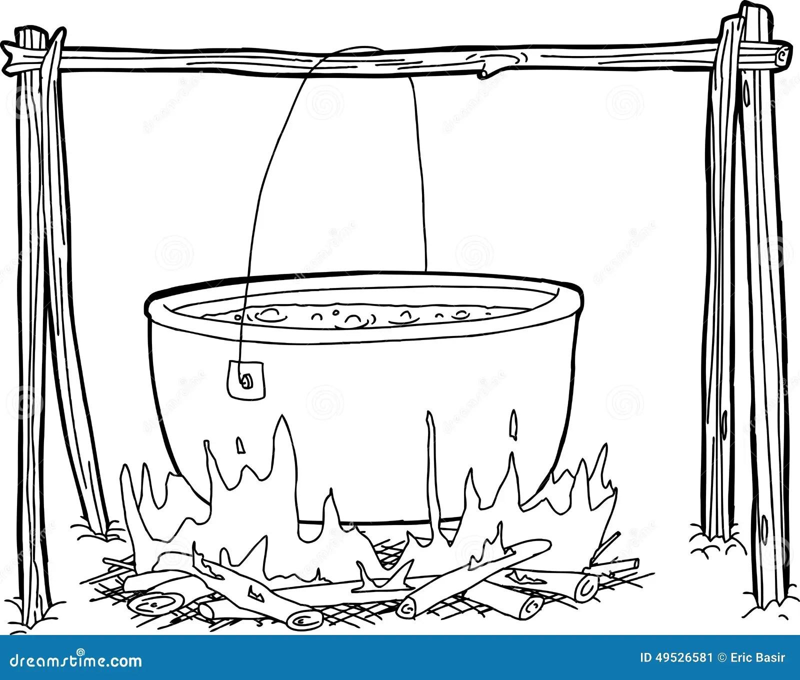 Outline Of Kettle Over Campfire Stock Illustration