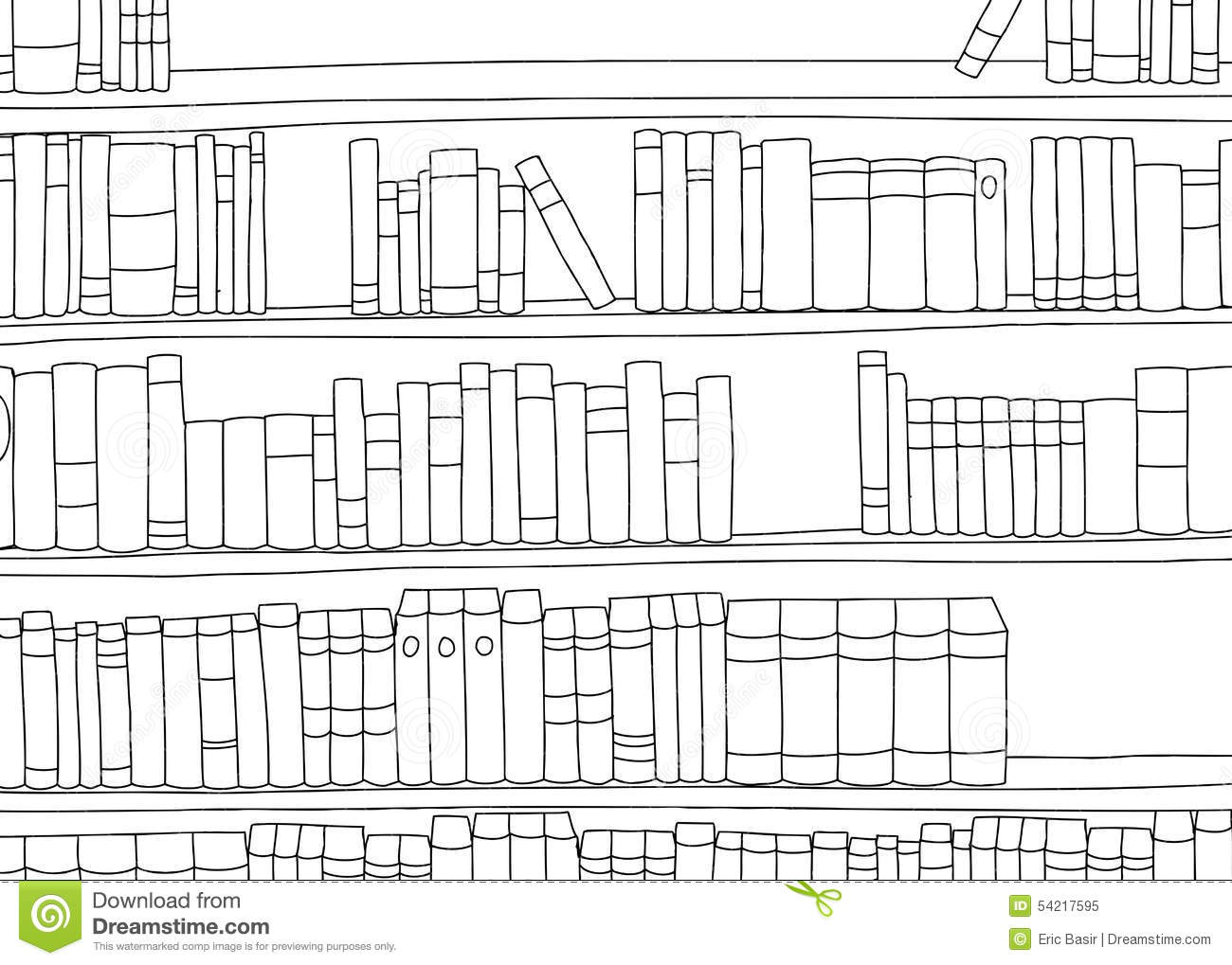 Outline Of Large Shelf With Books Stock Illustration