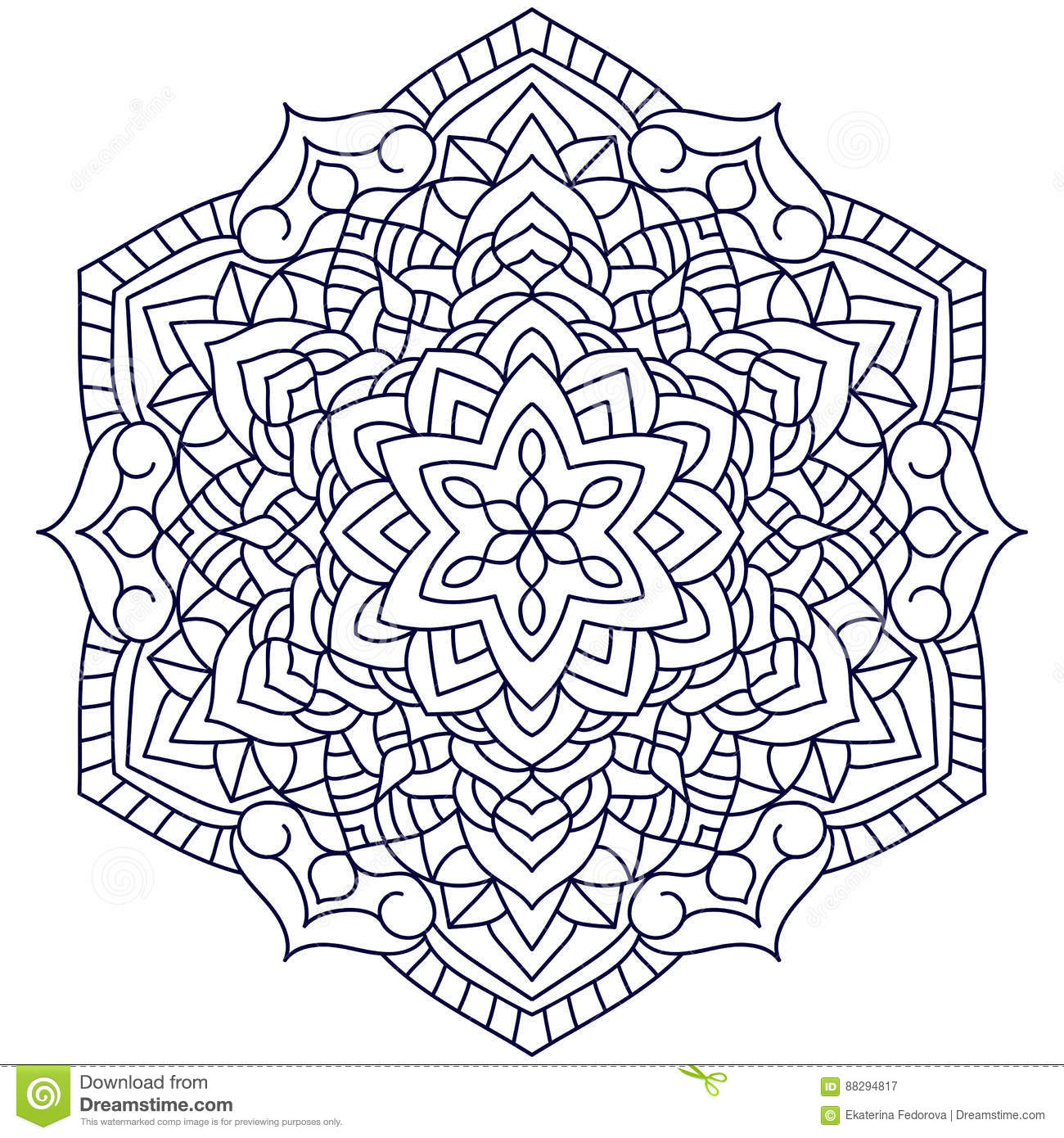 Outline Mandala For Coloring Book Stock Vector