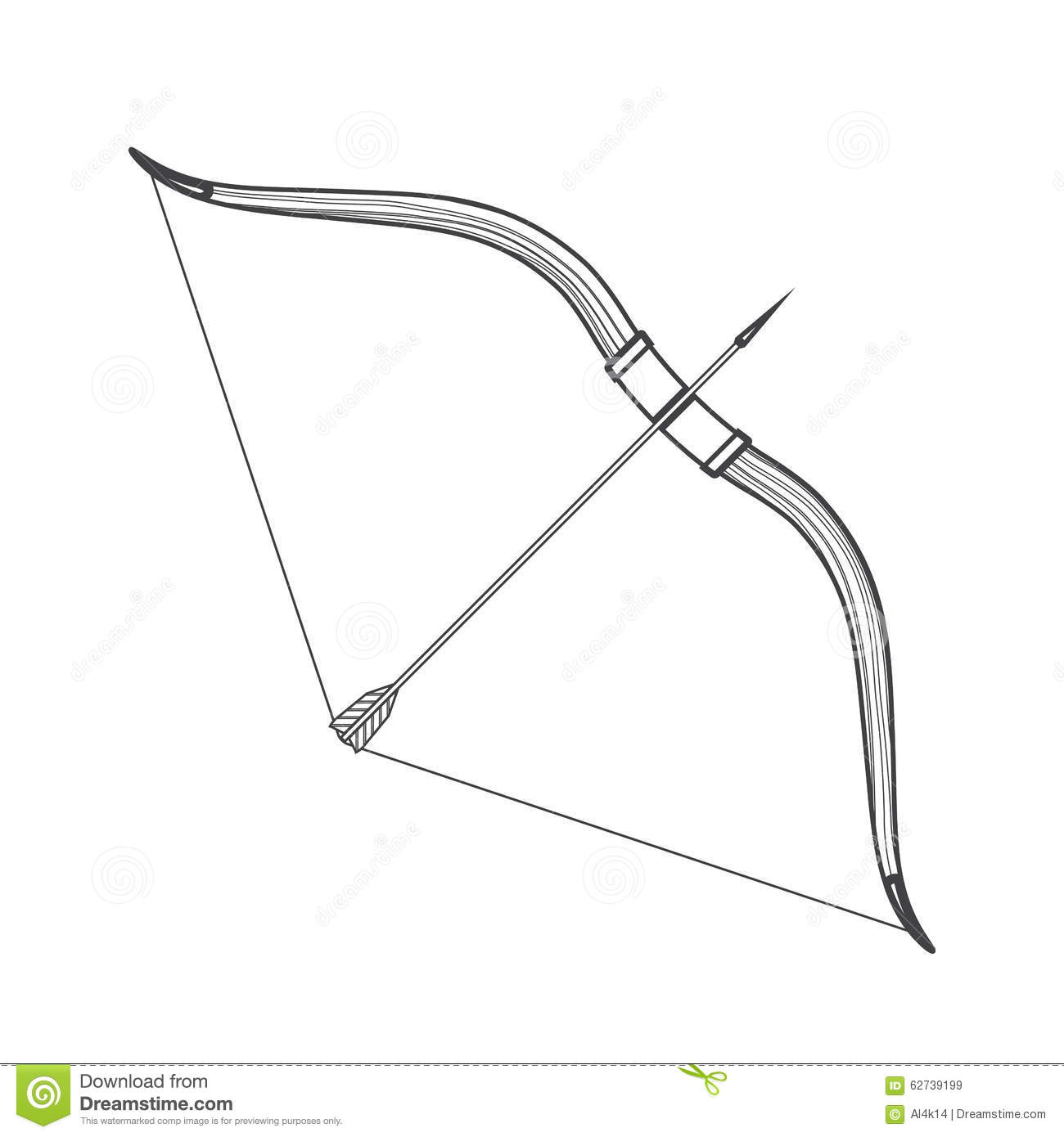 Outline Me Val Bow Arrow Icon Illustration Stock Vector