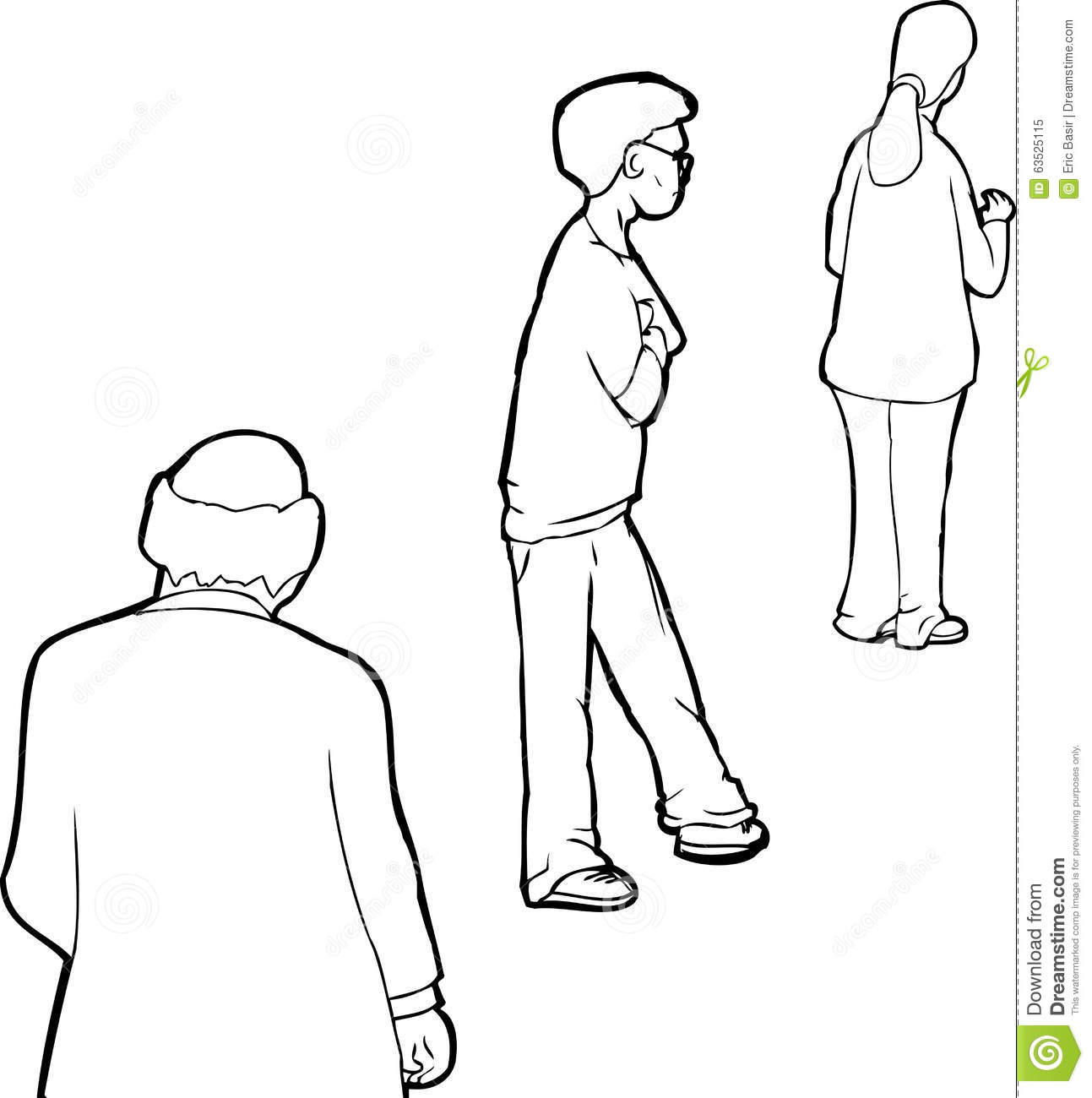 Outline Of People In Line Stock Illustration