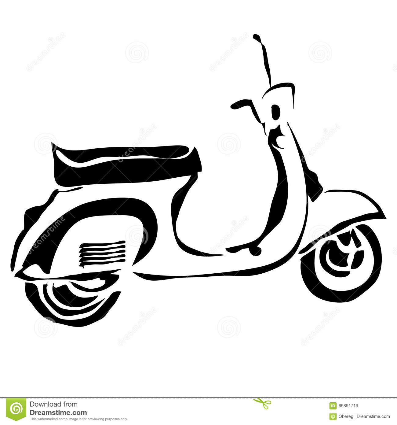 Outline Scooter Can Be Use For Logo Stock Vector