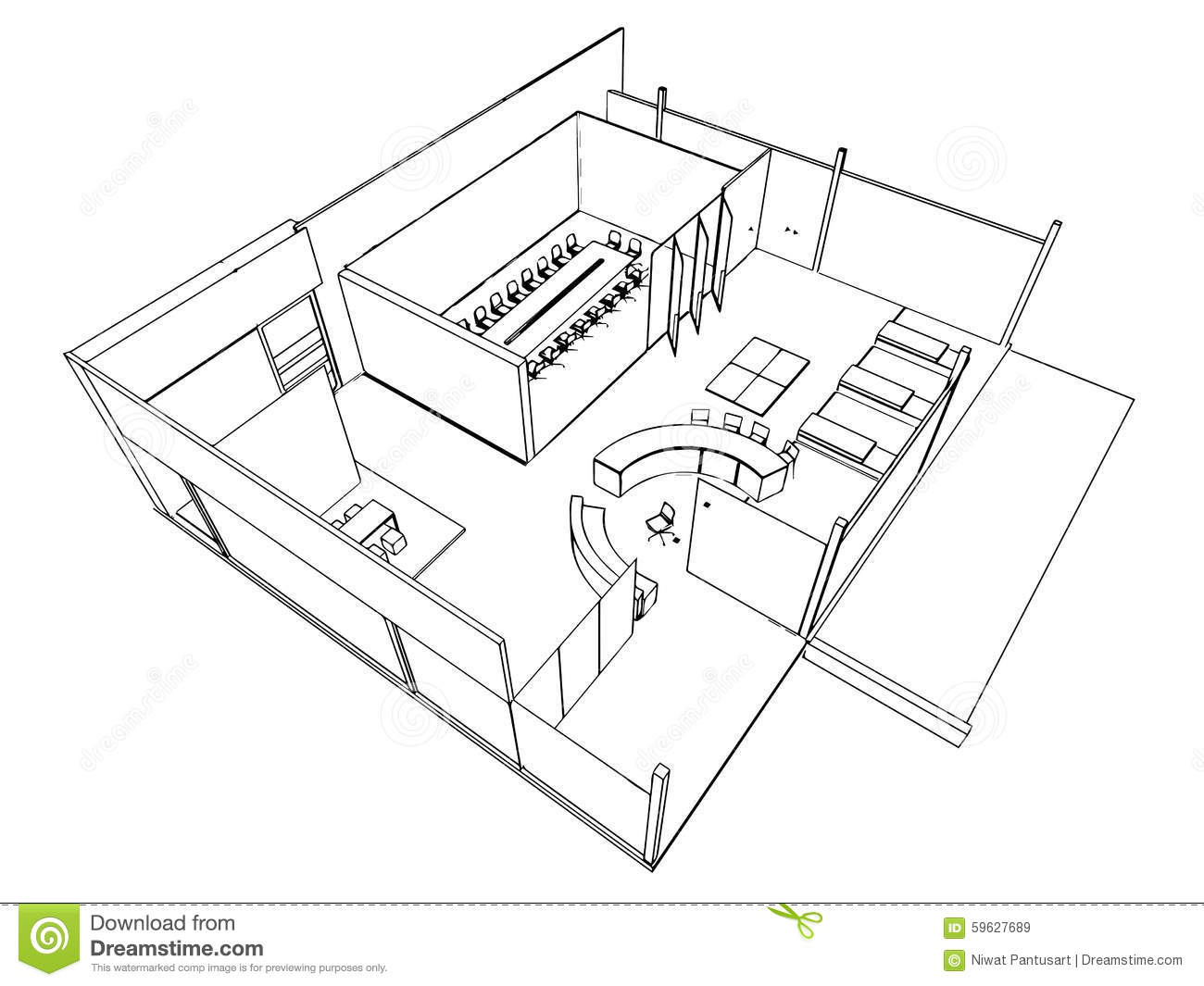 Outline Sketch Of A Interior Stock Vector