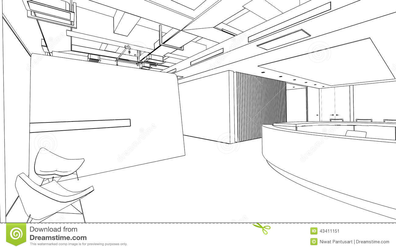 Outline Sketch Of A Interior Reception Area Stock Illustration