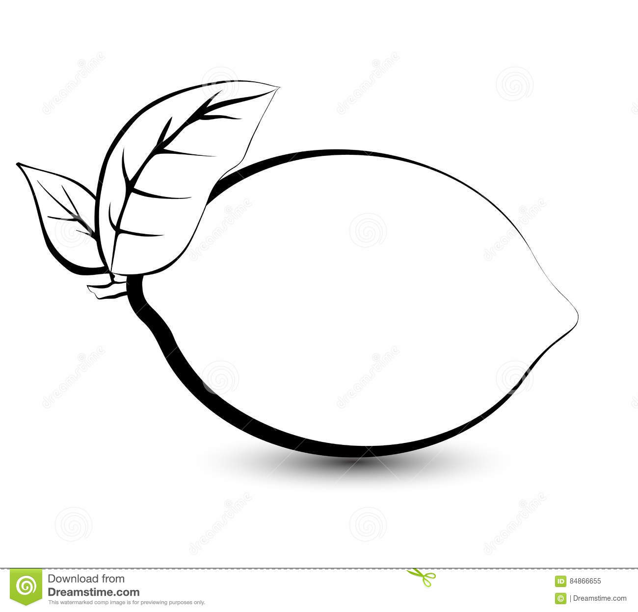 Outline Sketch Monochrome Lemon Lime Stock Vector