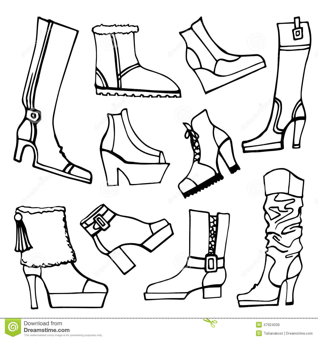 Outline Sketchy Vector Females Shoes Boots Set Stock