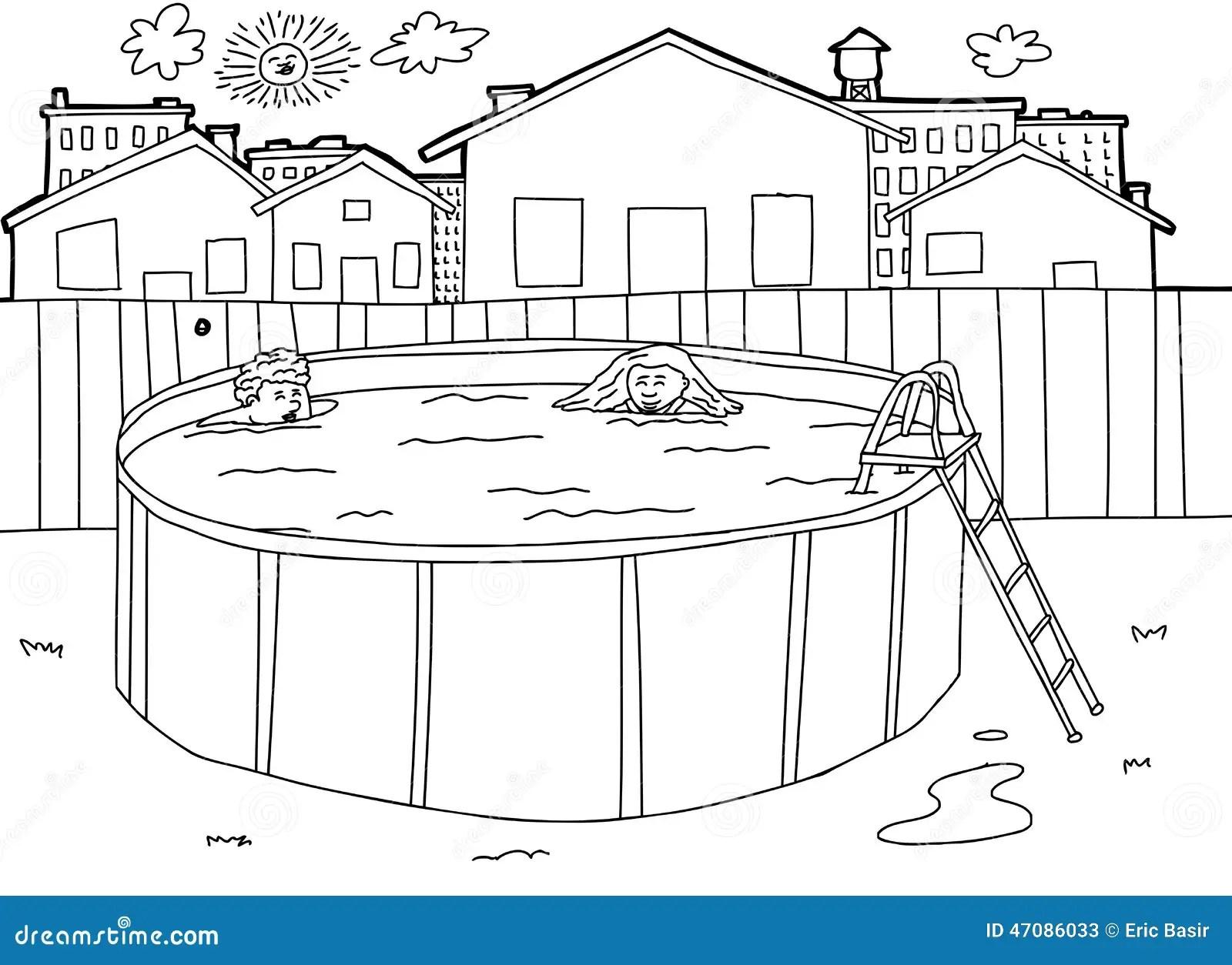 Outline Swimming Pool Scene Stock Vector