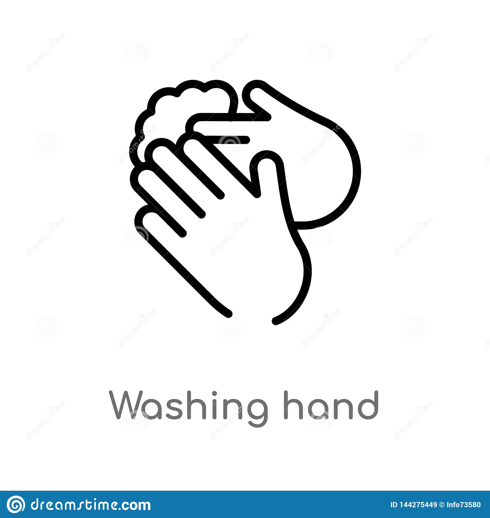 Outline Washing Hand Vector Icon Isolated Black Simple