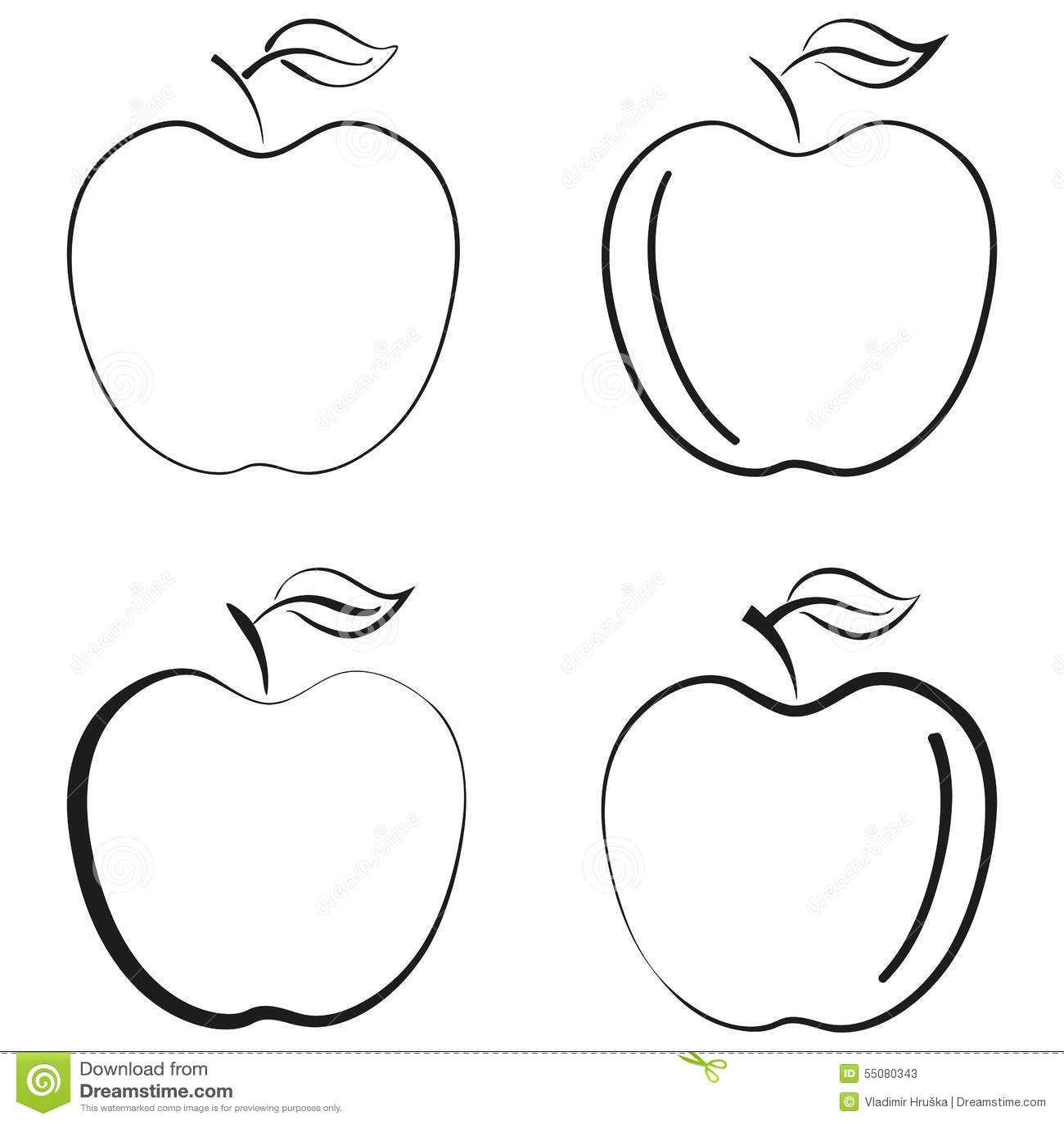 Outlined Apple Fruit Icon Black Silhouette Logo Vector