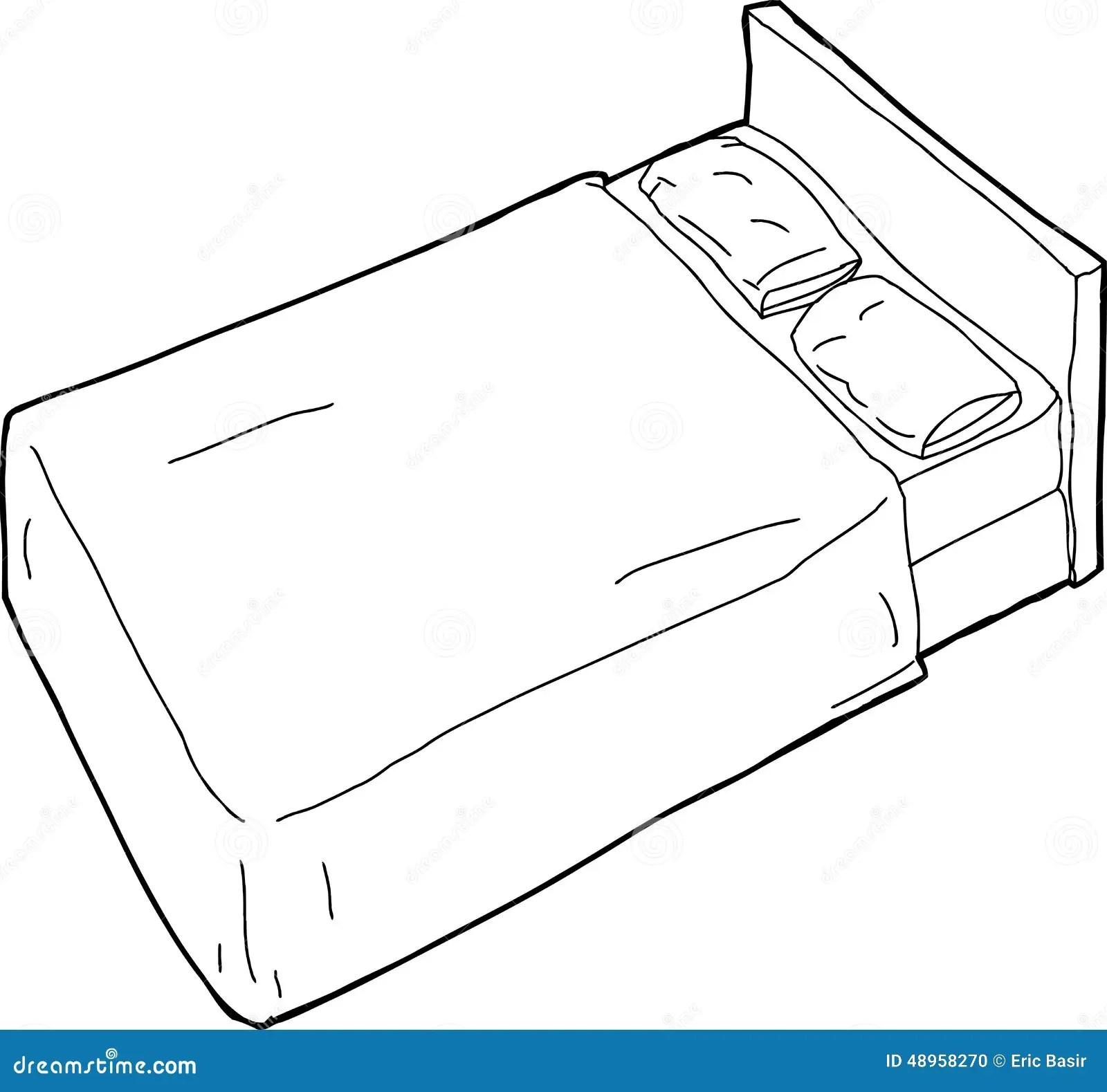 Outlined Bed Illustration Stock Illustration