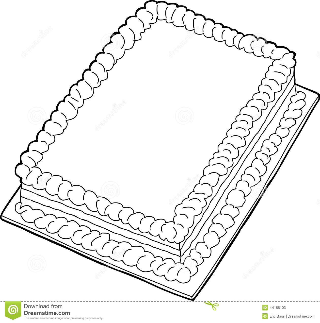 Outlined Cake Stock Vector Illustration Of Blank Icing