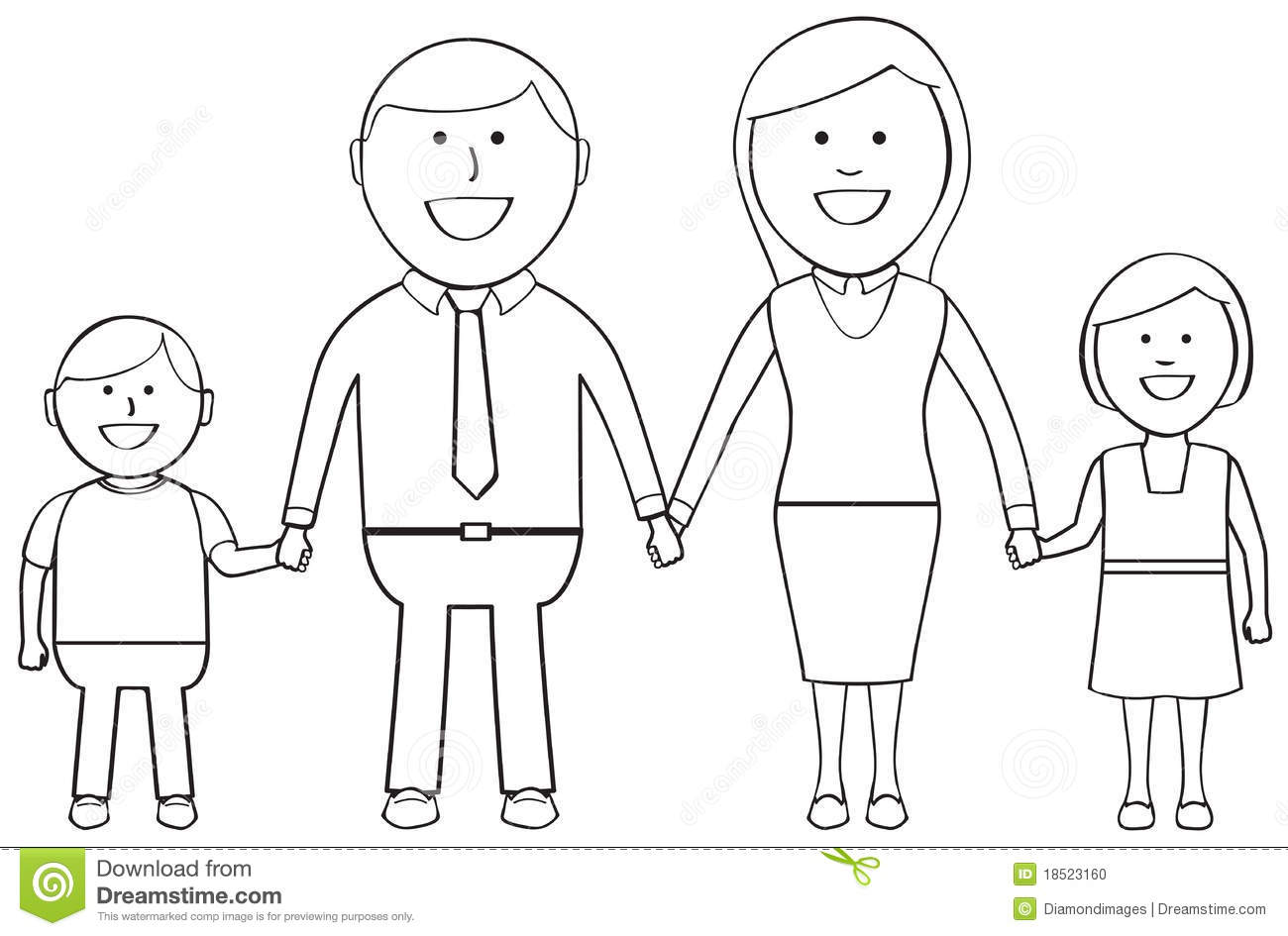 Outlined Happy Family Stock Photo