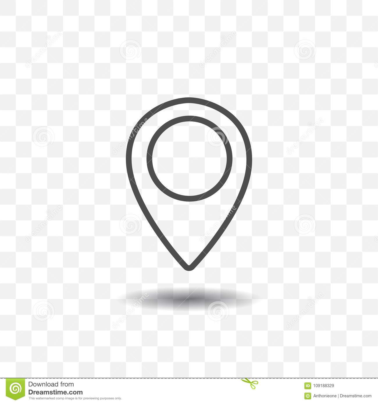 Outlined Map Location Pointer Icon On Transparent