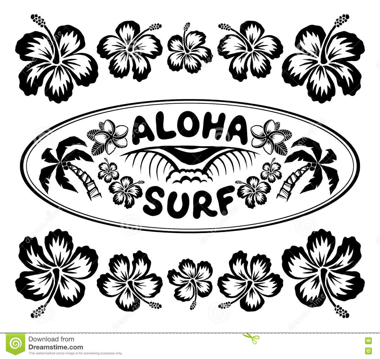 Oval Surfing Style Label With Sign Aloha Surf And Hibiscus