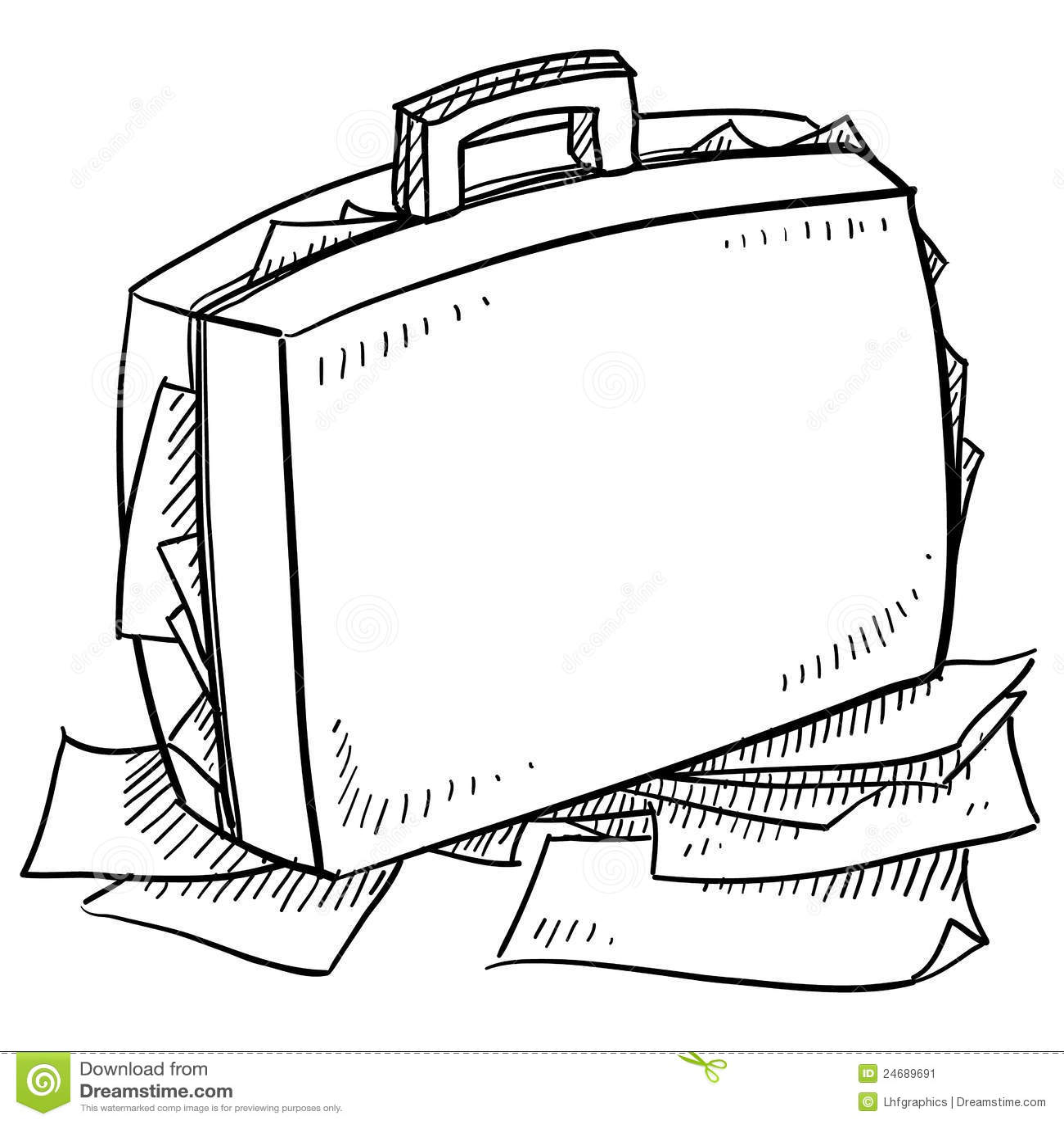Overstuffed Briefcase Sketch Stock Vector
