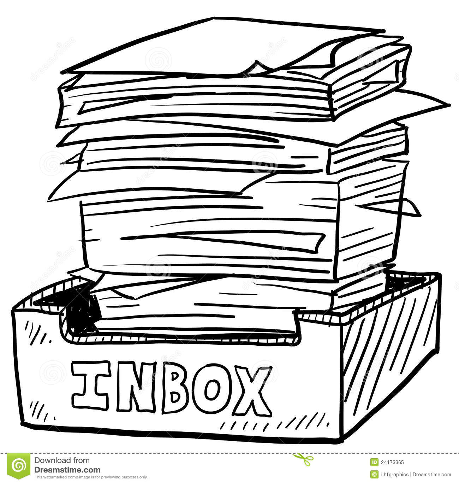 Overstuffed Inbox Work Stress Sketch Stock Vector