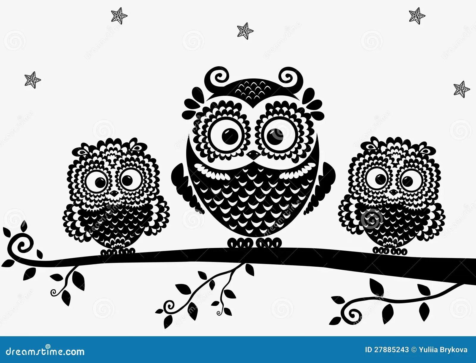 Owl Black Stock Vector Illustration Of Nature Love