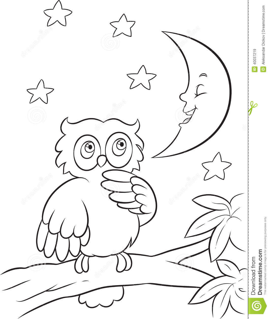 Owl Coloring Page Stock Vector