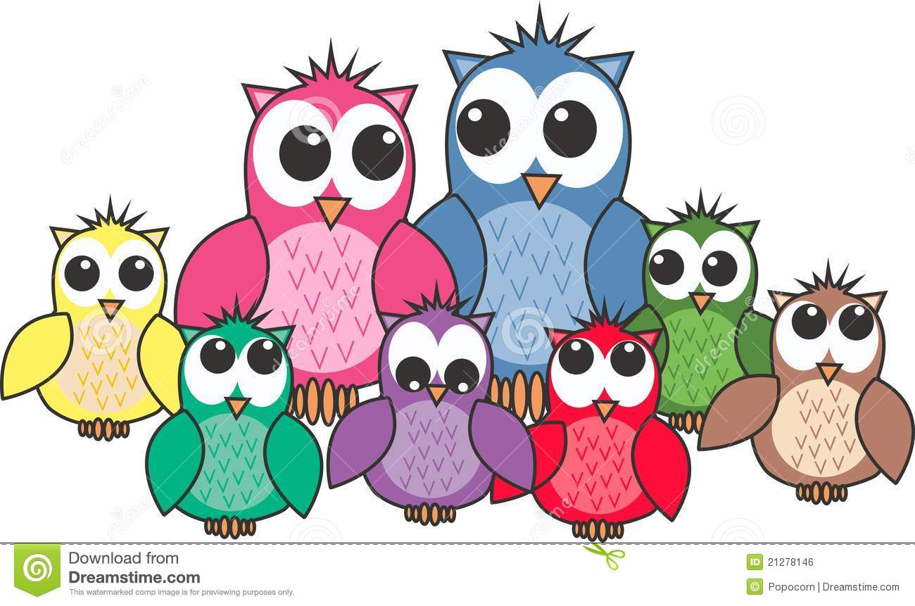 Owl Family Royalty Free Stock Image