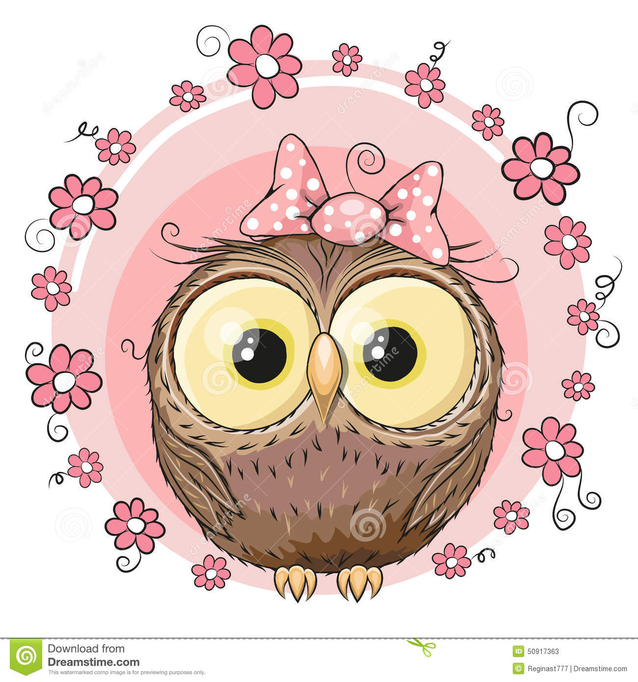 Owl With Flowers Stock Vector Image 50917363
