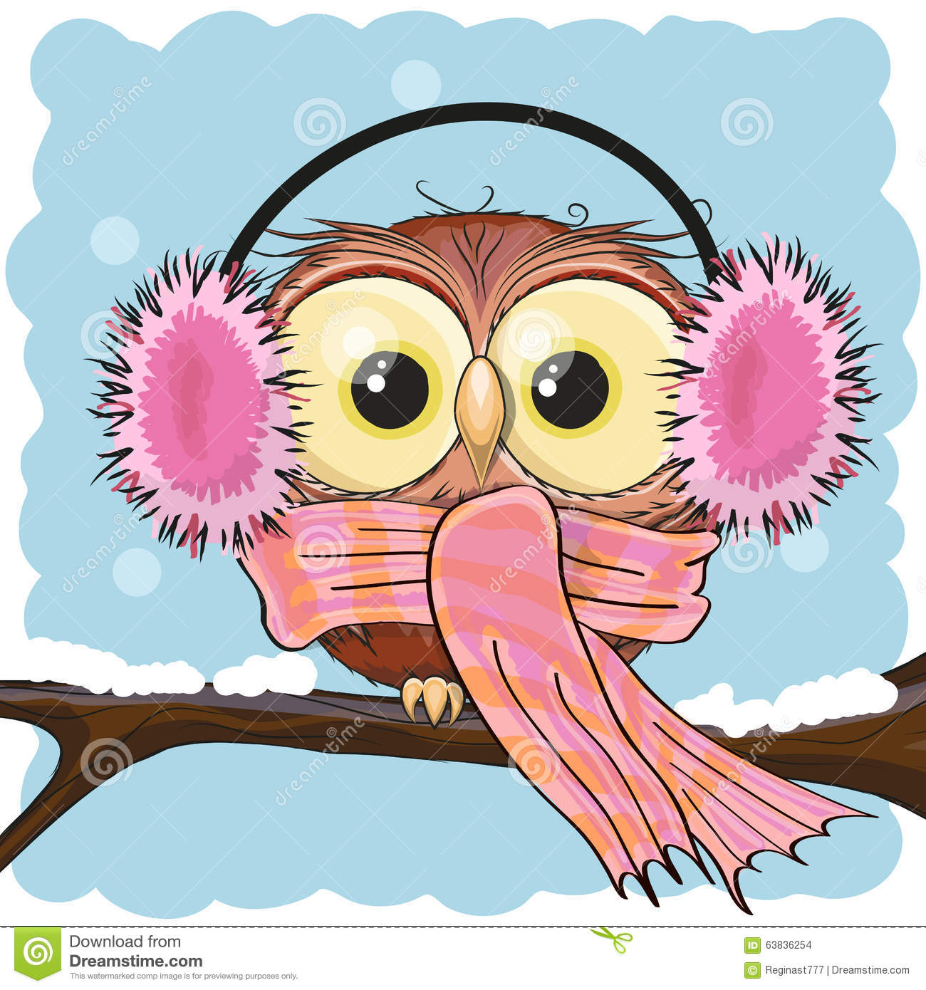 Owl In A Fur Headphones Stock Vector Image 63836254
