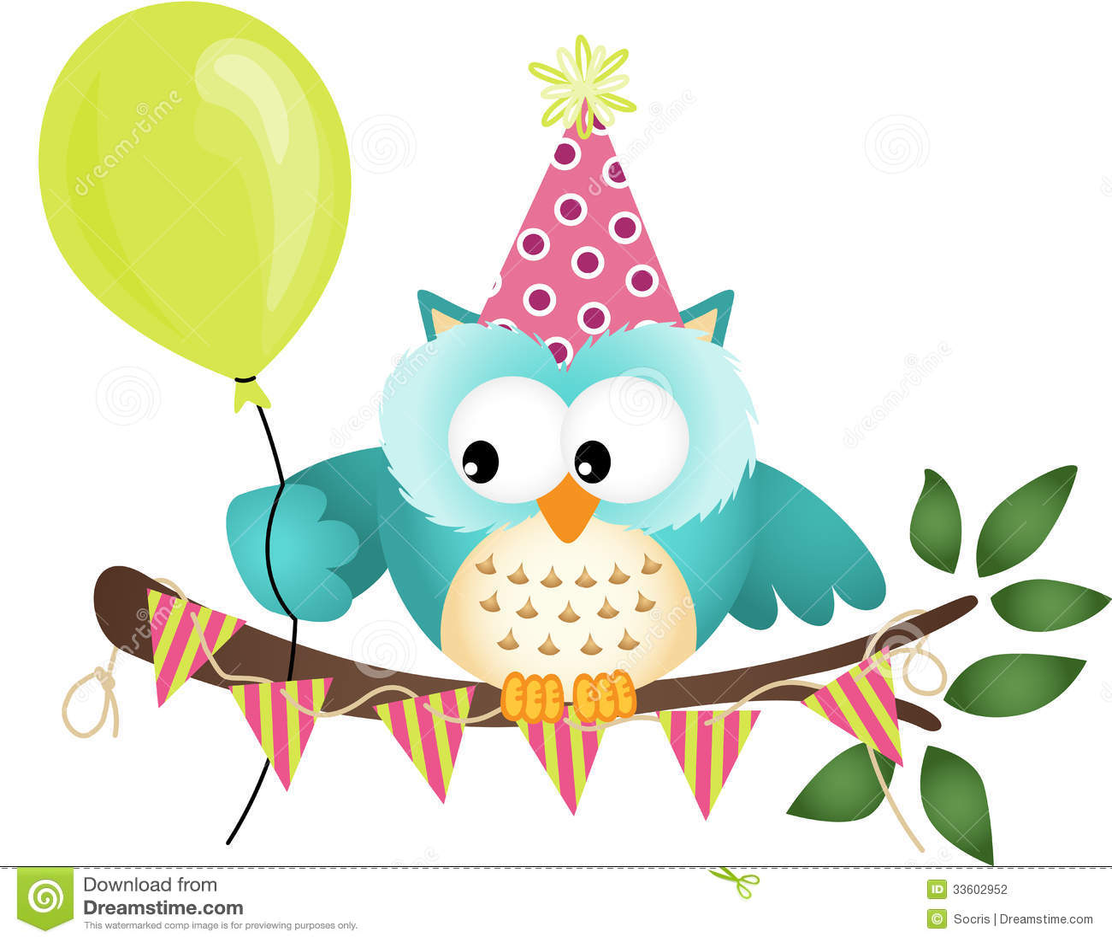 Owl Happy Birthday Stock Vector Illustration Of Card 33602952