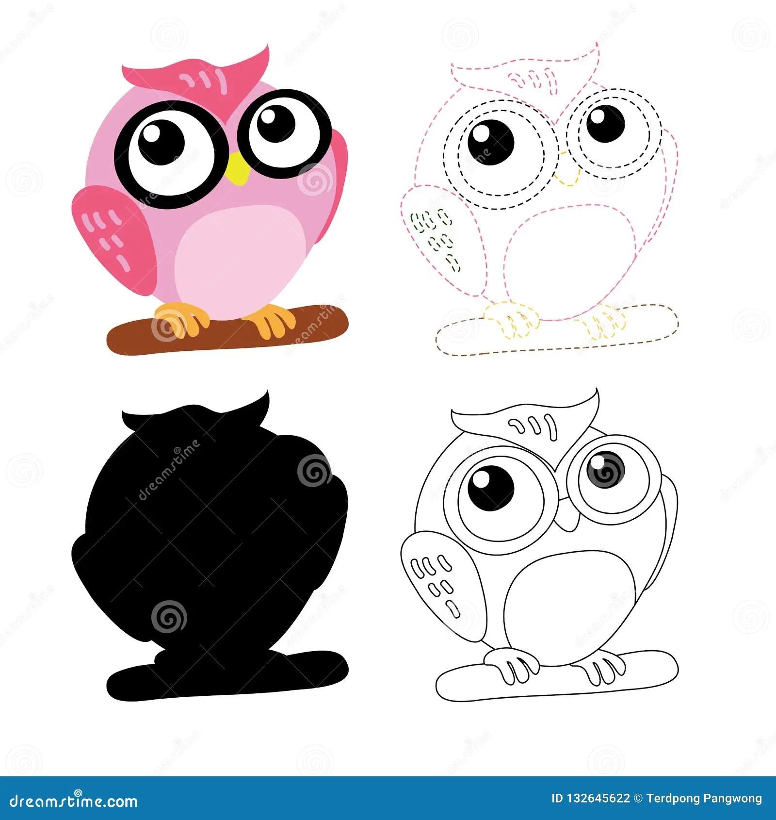 Owl Worksheet Vector Design For Kid Stock Vector