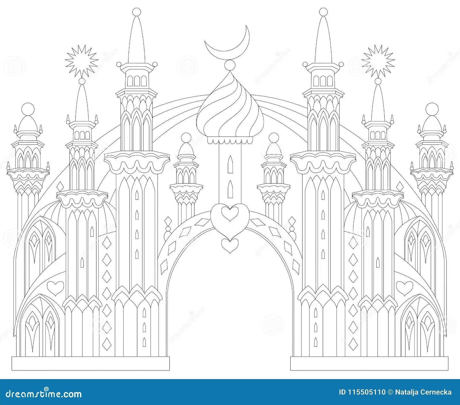 Pagina Blanco Y Negro Para Colorear Castillo Del Este Fantastico De Un Cuento De Hadas Hoja De