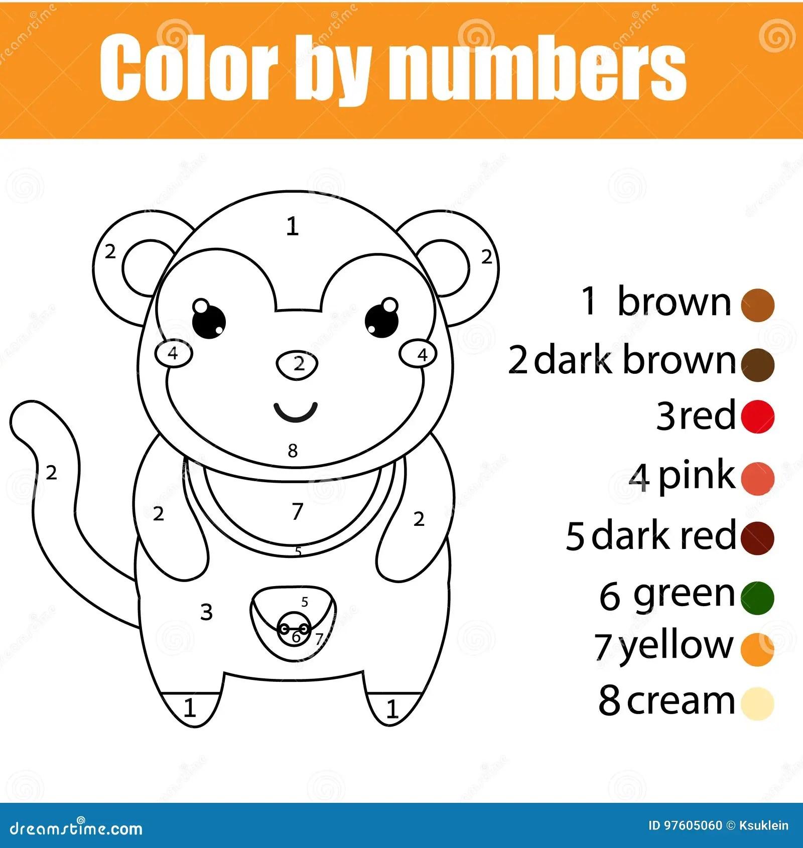 Pagina Que Colorea Con El Mono El Color Por El Juego Educativo De Los Ninos De Los Numeros