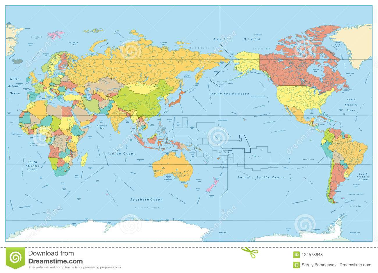 Pacific Centered World Colored Map With Rivers And Its