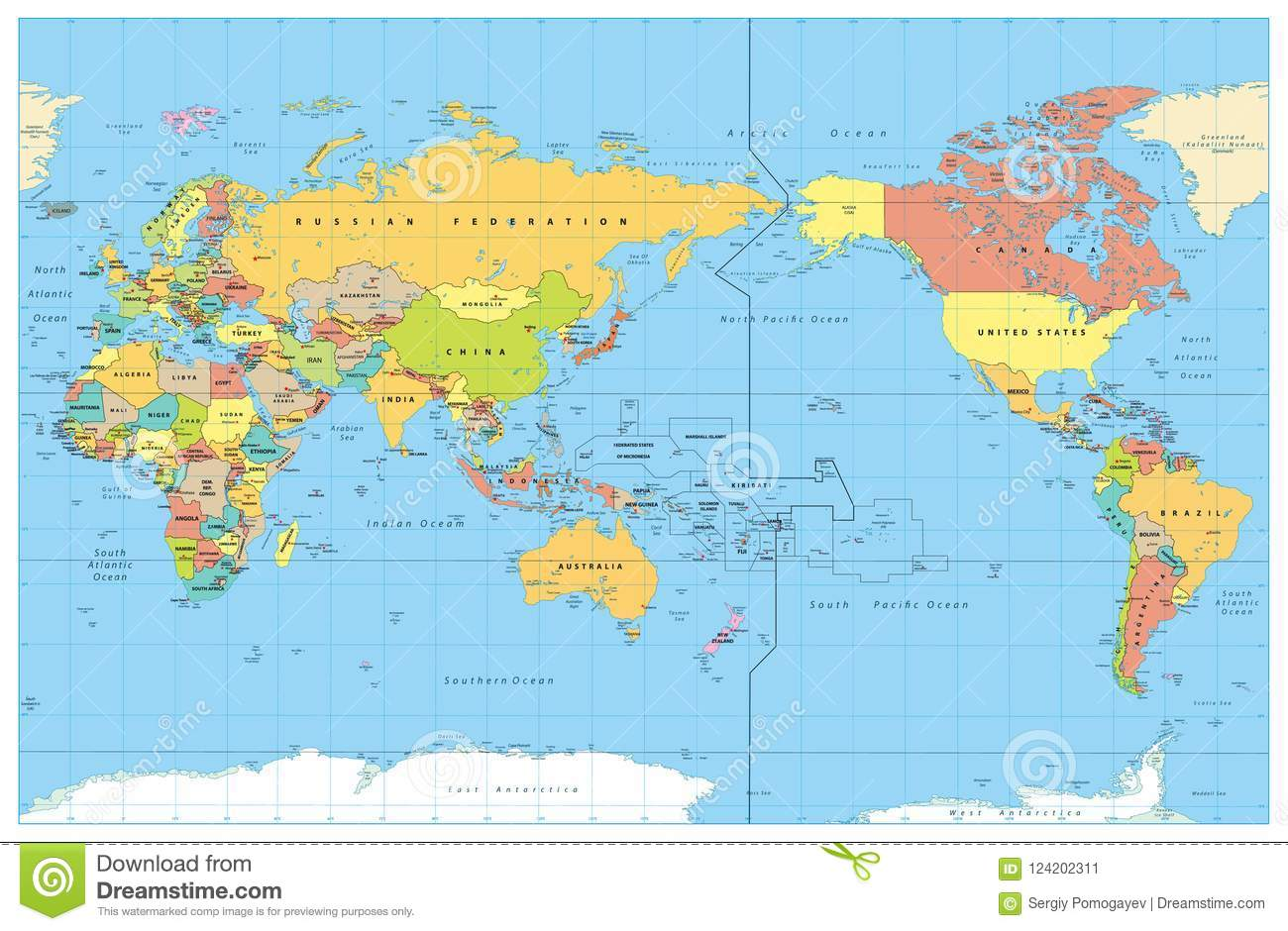 Pacific Centred World Colored Map No Bathymetry Stock