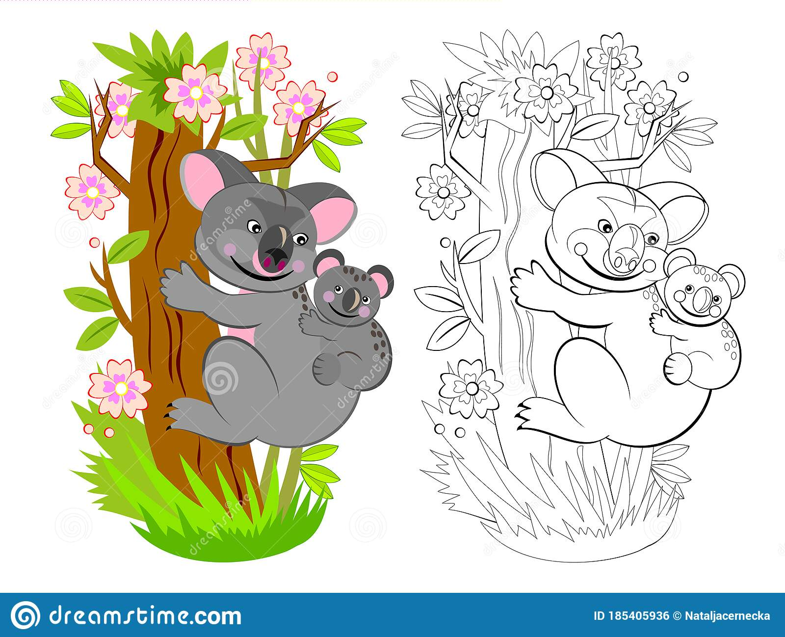 Page For Coloring Book Illustration Of Mother Koala With