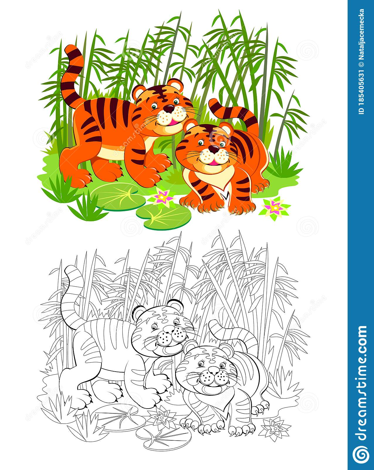 Page For Coloring Book Illustration Of Two Cute Toy